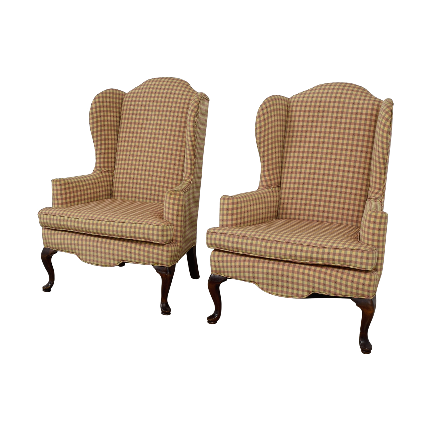 Ethan Allen Plaid Queen Anne Accent Chairs / Accent Chairs