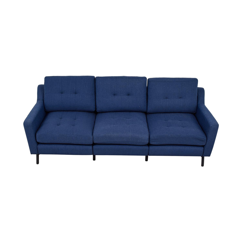 Burrow Burrow Navy Blue Tufted Three-Cushion Sofa on sale