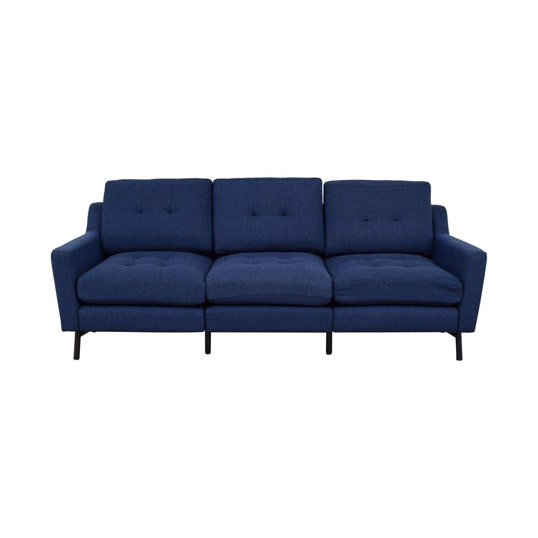 Burrow Navy Blue Tufted Three-Cushion Sofa Burrow