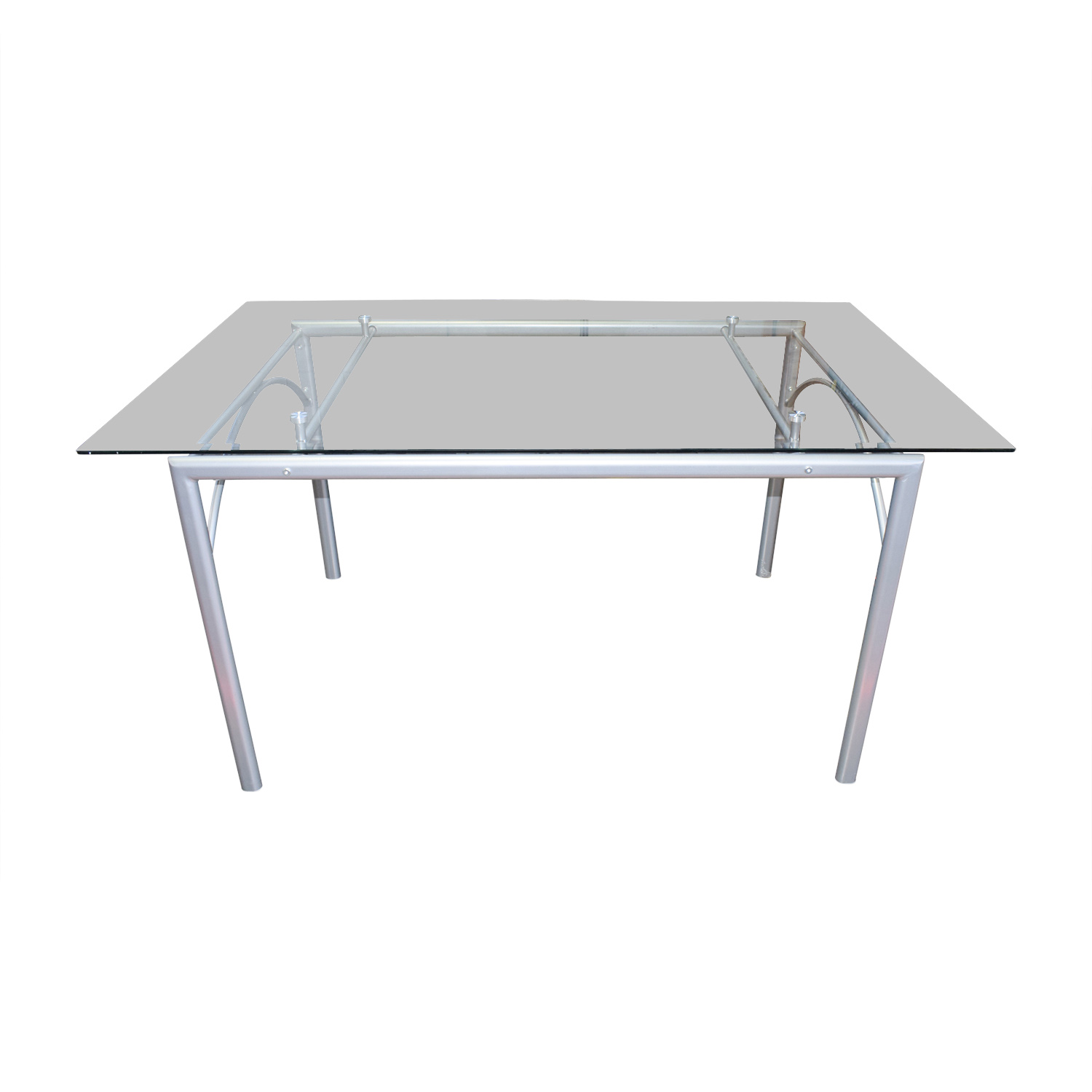Coaster Coaster Rectangular Glass and Metal Dining Table second hand
