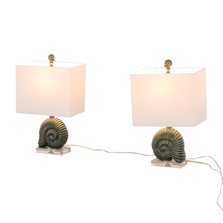 53 off zeckos zeckos verdigris finish ammonite shell table lamps zeckos zeckos verdigris finish ammonite shell table lamps multi aloadofball Images