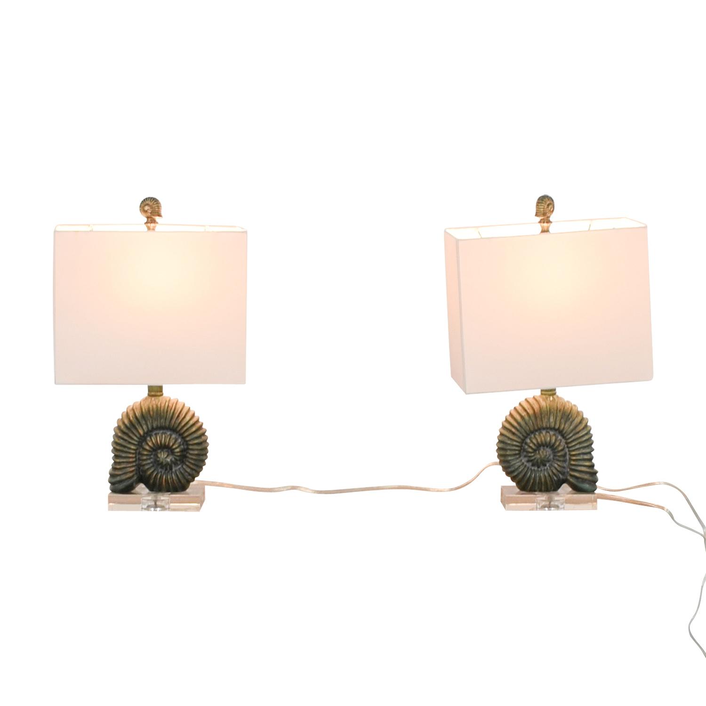 Zeckos Zeckos Verdigris Finish Ammonite Shell Table Lamps Decor