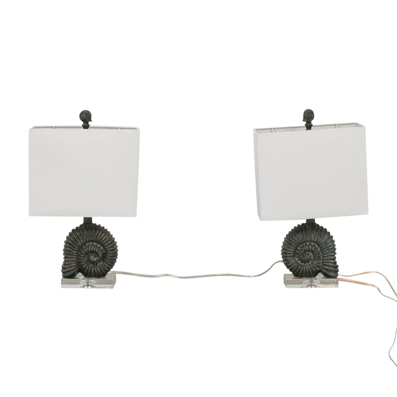 Zeckos Zeckos Verdigris Finish Ammonite Shell Table Lamps discount