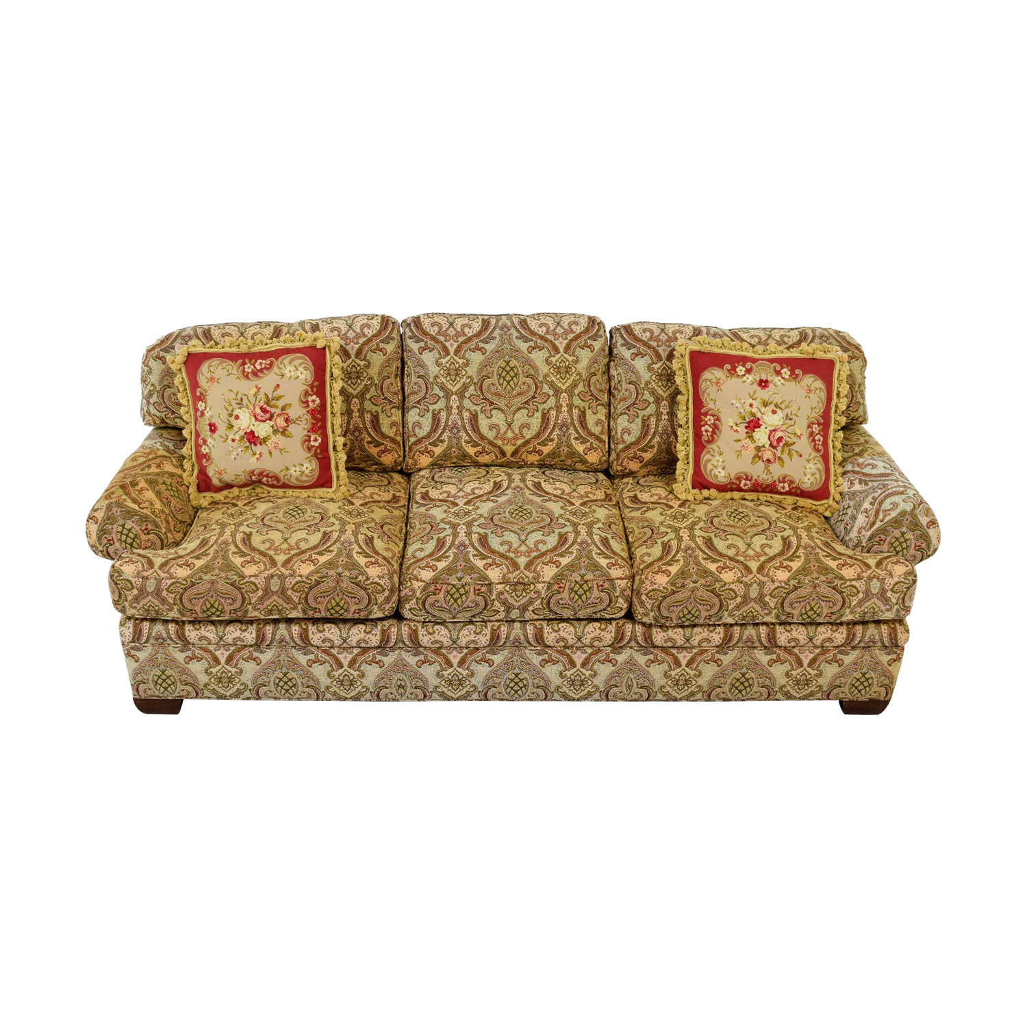 Kravet Kravet Custom Chenille Paisley Three-Cushion Sofa on sale