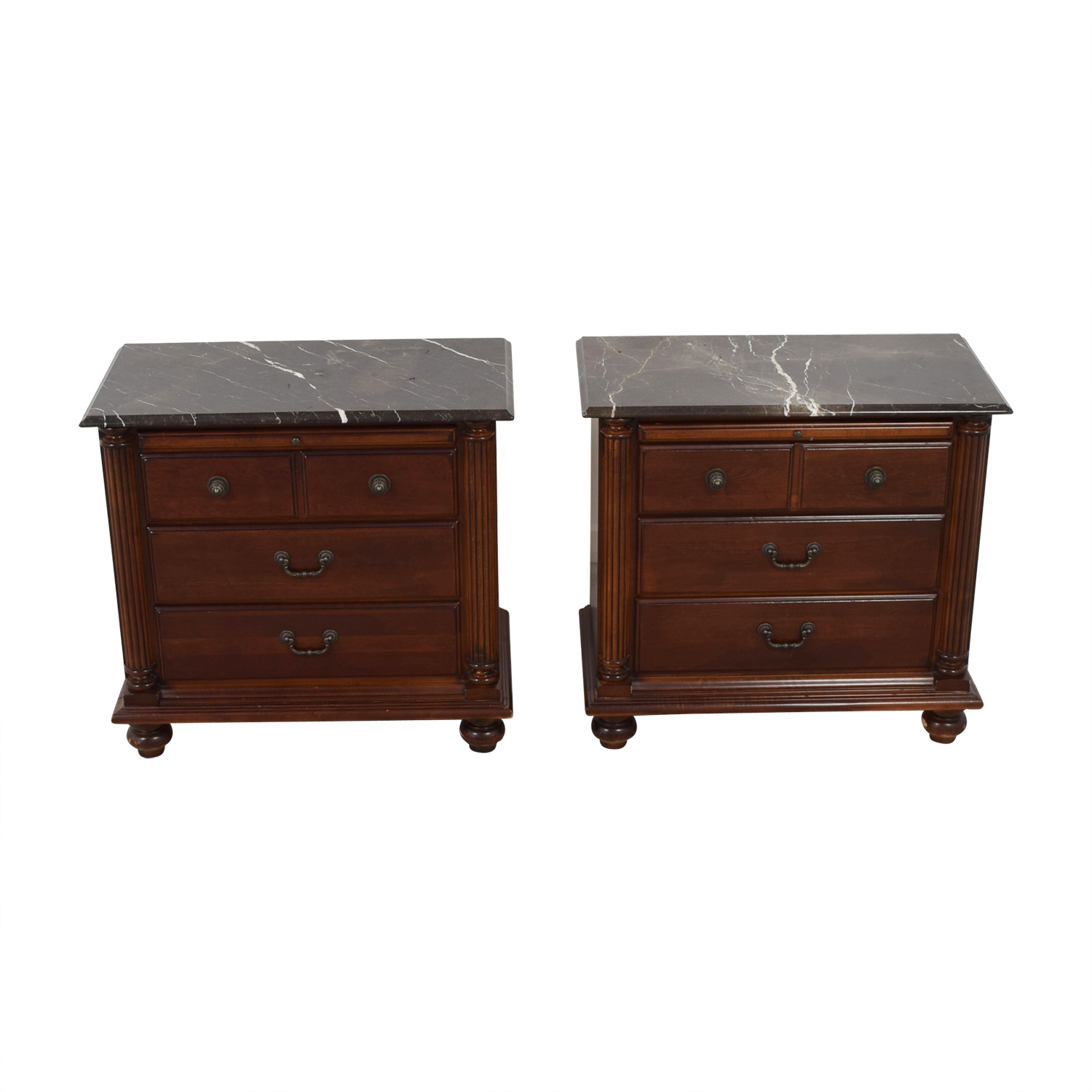 Hooker Hooker Marble Top Three-Drawer Night Stands Multi