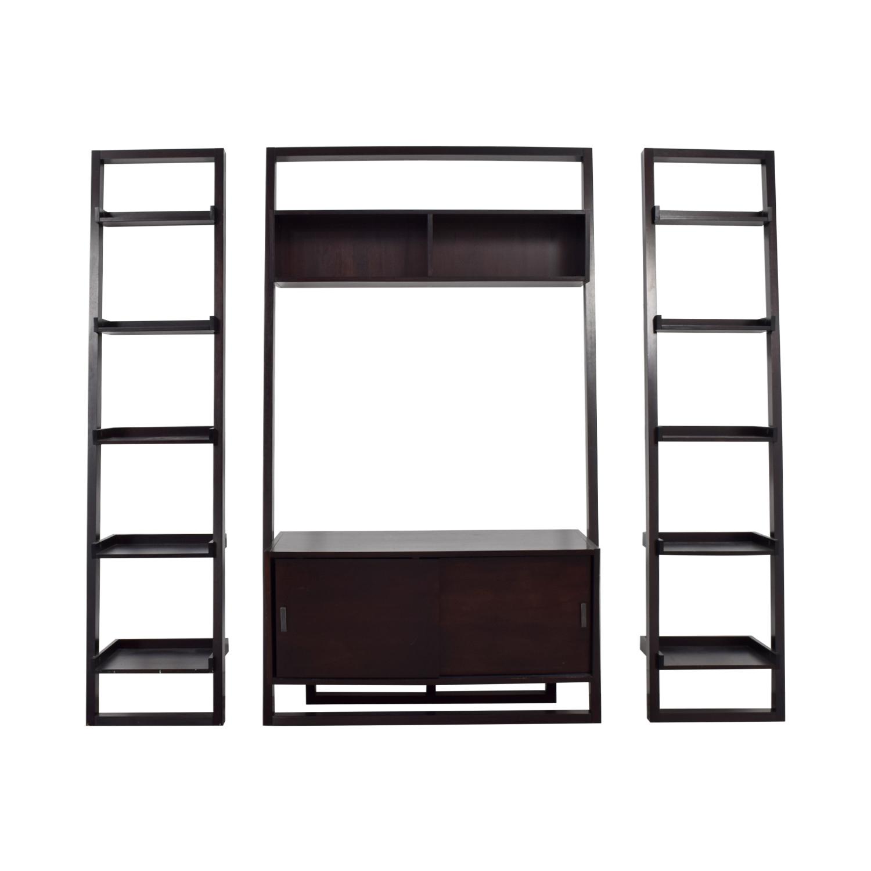 buy Crate & Barrel Sawyer Leaning Media Stand Bookshelves Crate & Barrel