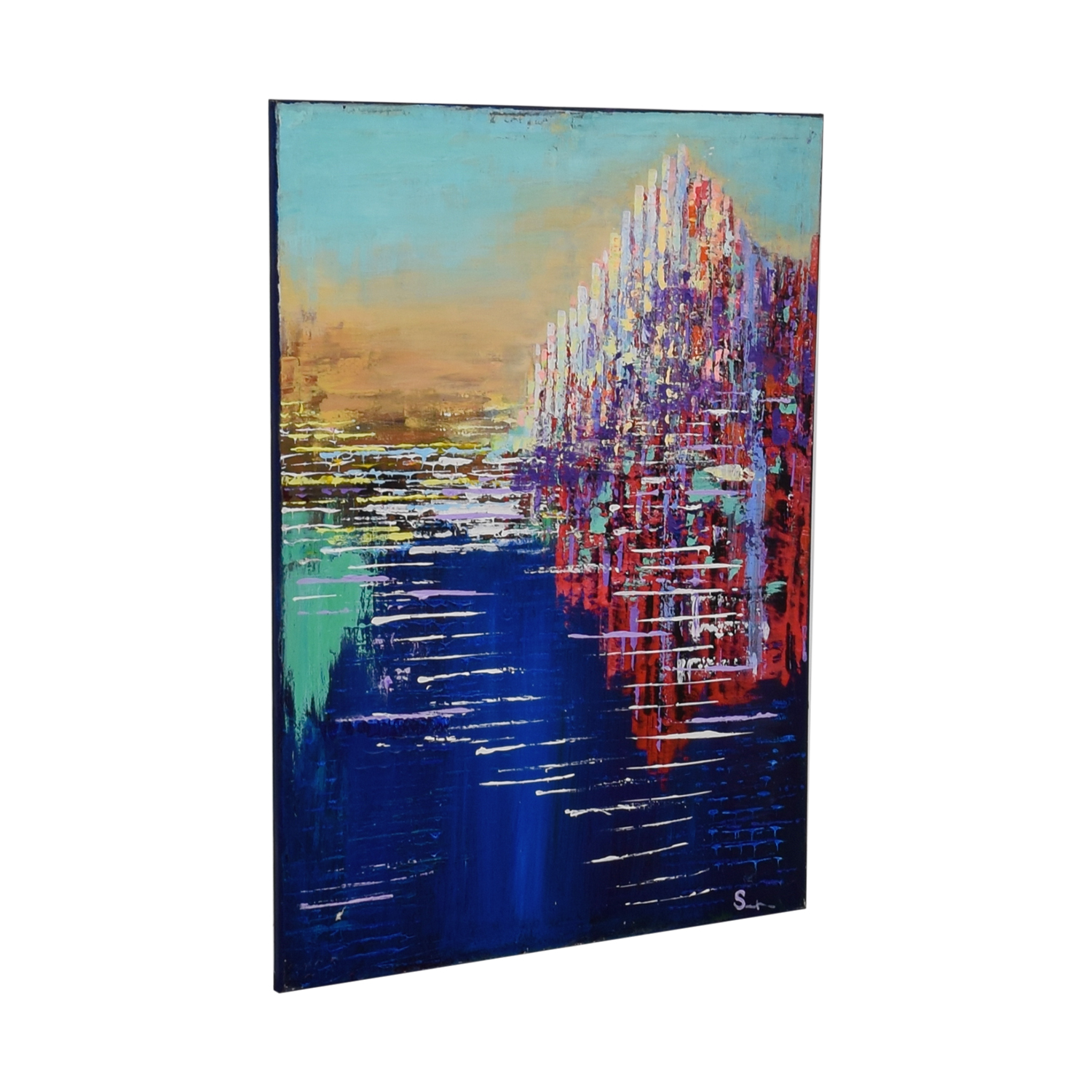 Multi Colored Acrylic Cityscape Painting / Wall Art