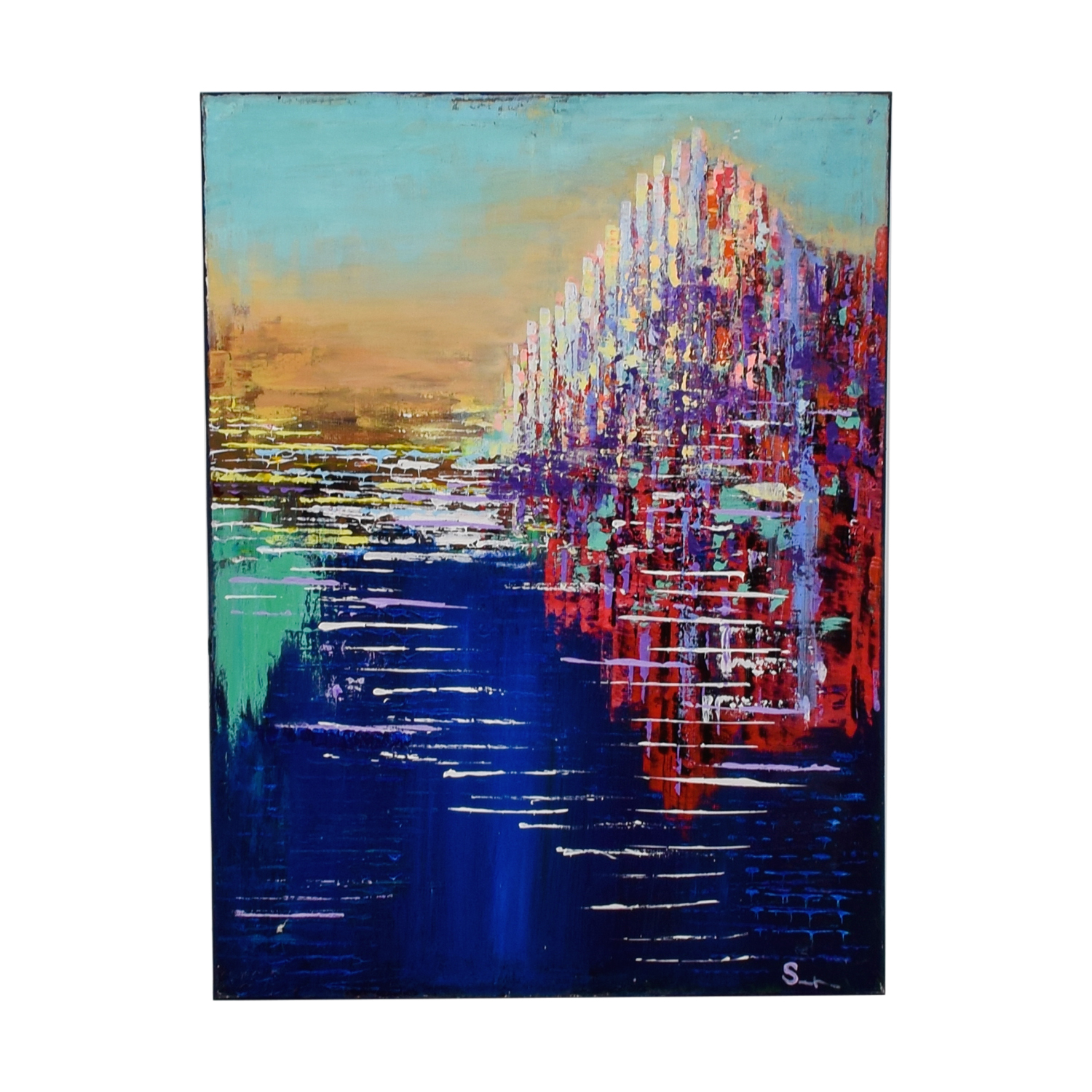 Multi Colored Acrylic Cityscape Painting dimensions