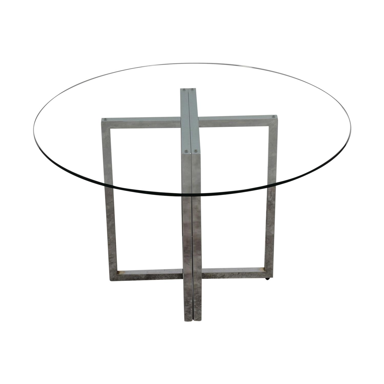 CB2 Silverado Chrome Round Dining Table sale