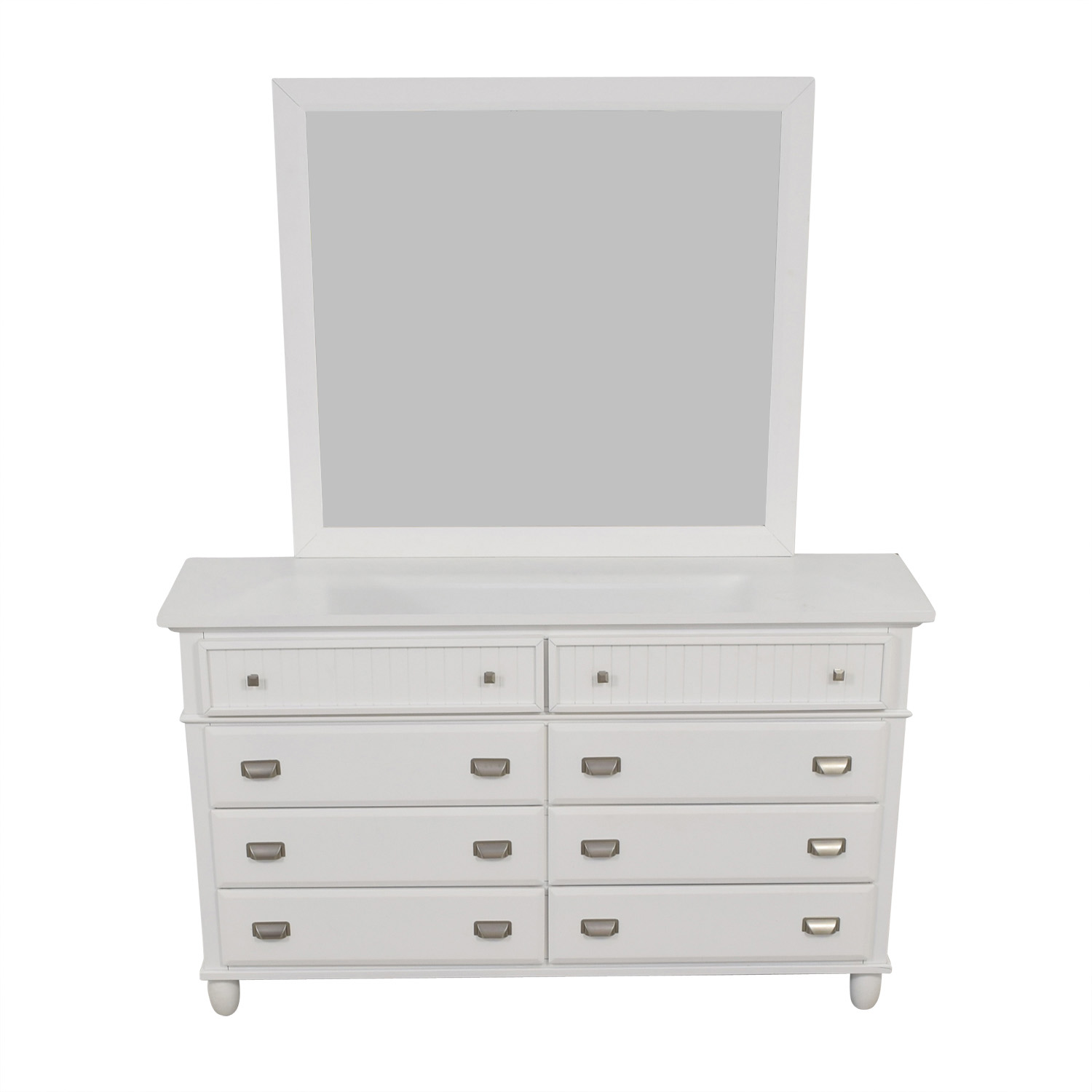 Bob's Furniture Bob's Furniture Spencer White Eight-Drawer Dresser with Mirror coupon