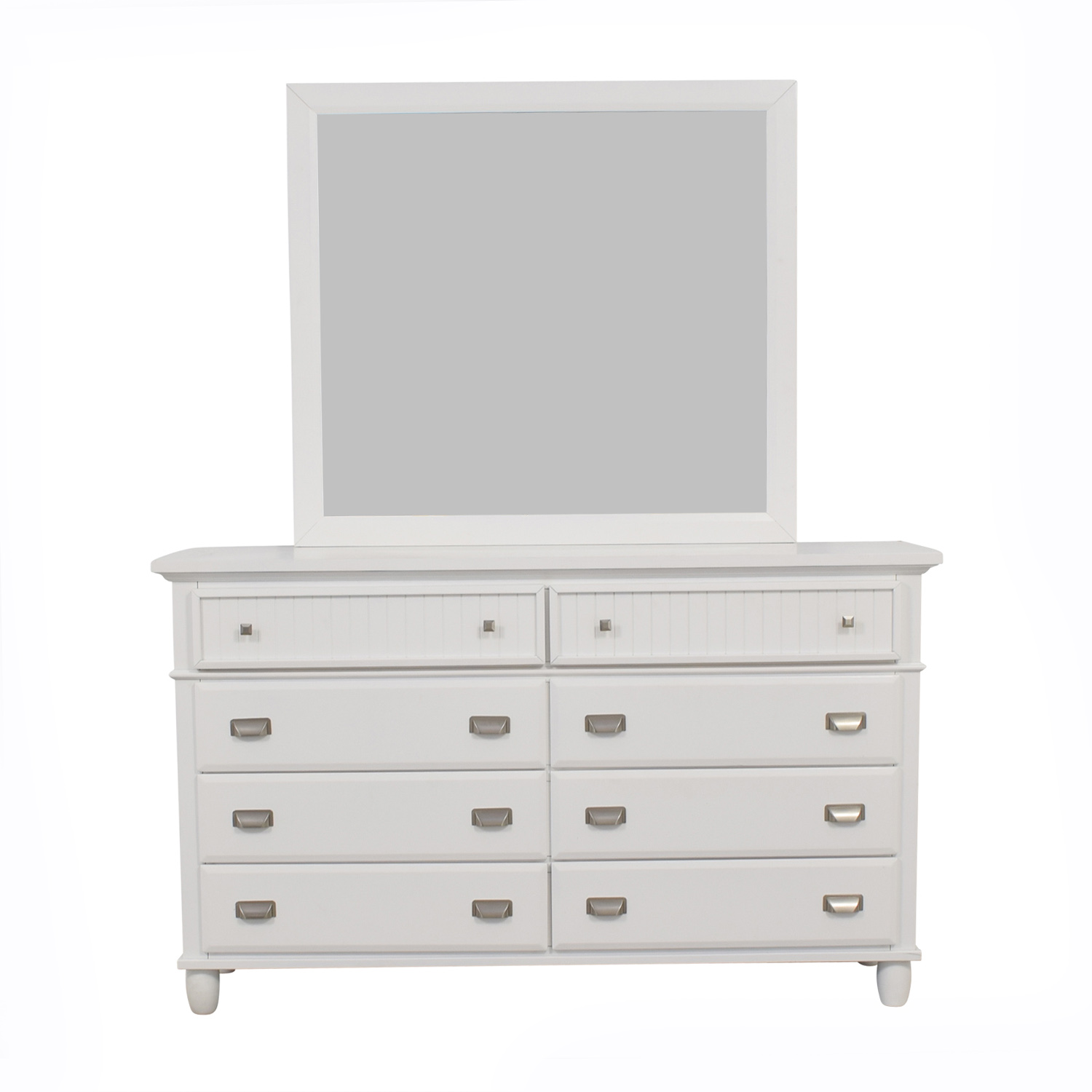 shop Bob's Furniture Spencer White Eight-Drawer Dresser with Mirror Bob's Furniture Storage