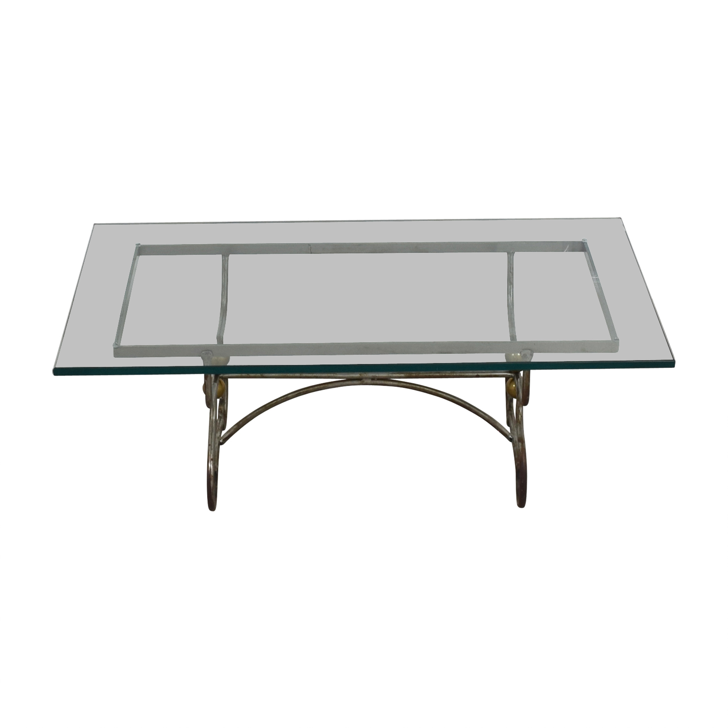 Wrought Iron and Brass with Glass Top Coffee Table used