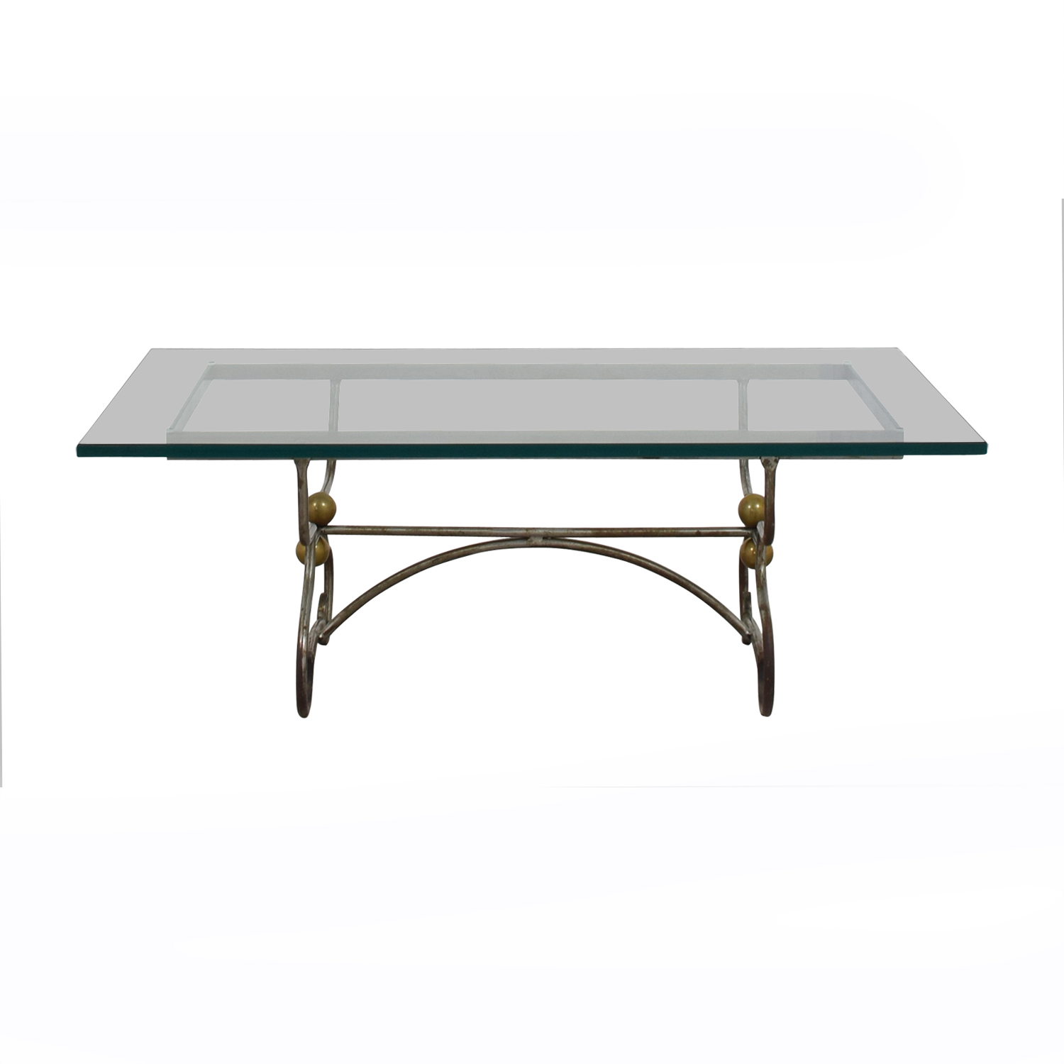 Wrought Iron and Brass with Glass Top Coffee Table / Tables