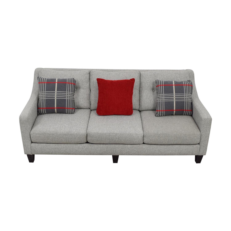 Raymour & Flanigan Raymour & Flanigan Modern Gray Three-Cushion Couch second hand