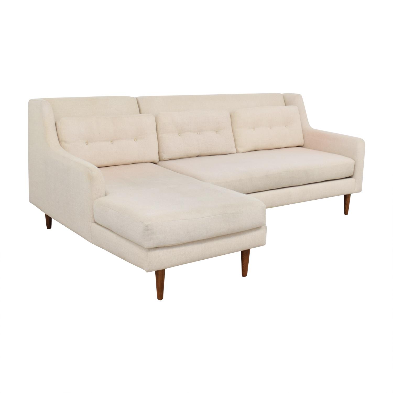 67 off west elm west elm beige mid century 2 piece crosby chaise sectional sofa sofas. Black Bedroom Furniture Sets. Home Design Ideas
