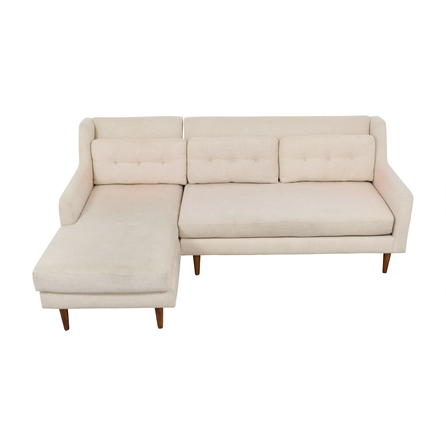 West Elm West Elm Beige Mid Century 2-Piece Crosby Chaise Sectional Sofa nyc
