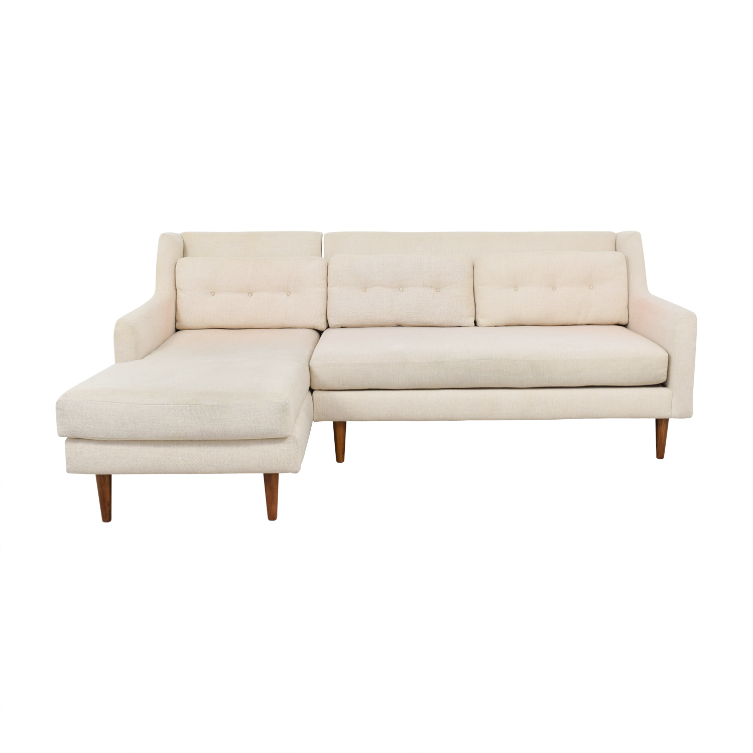 West Elm West Elm Beige Mid Century 2-Piece Crosby Chaise Sectional Sofa