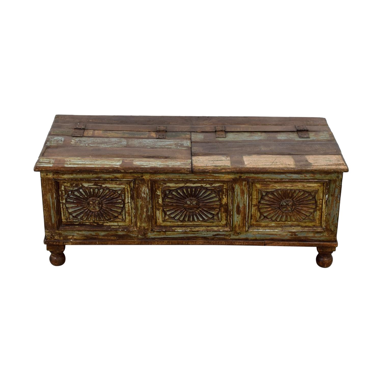 Vintage Carved Rustic Wood Storage Coffee Table