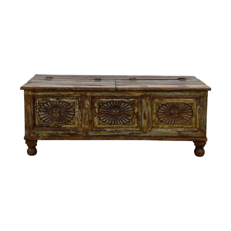 Rustic Wood And Mirror Coffee Table: Vintage Carved Rustic Wood Storage Coffee Table