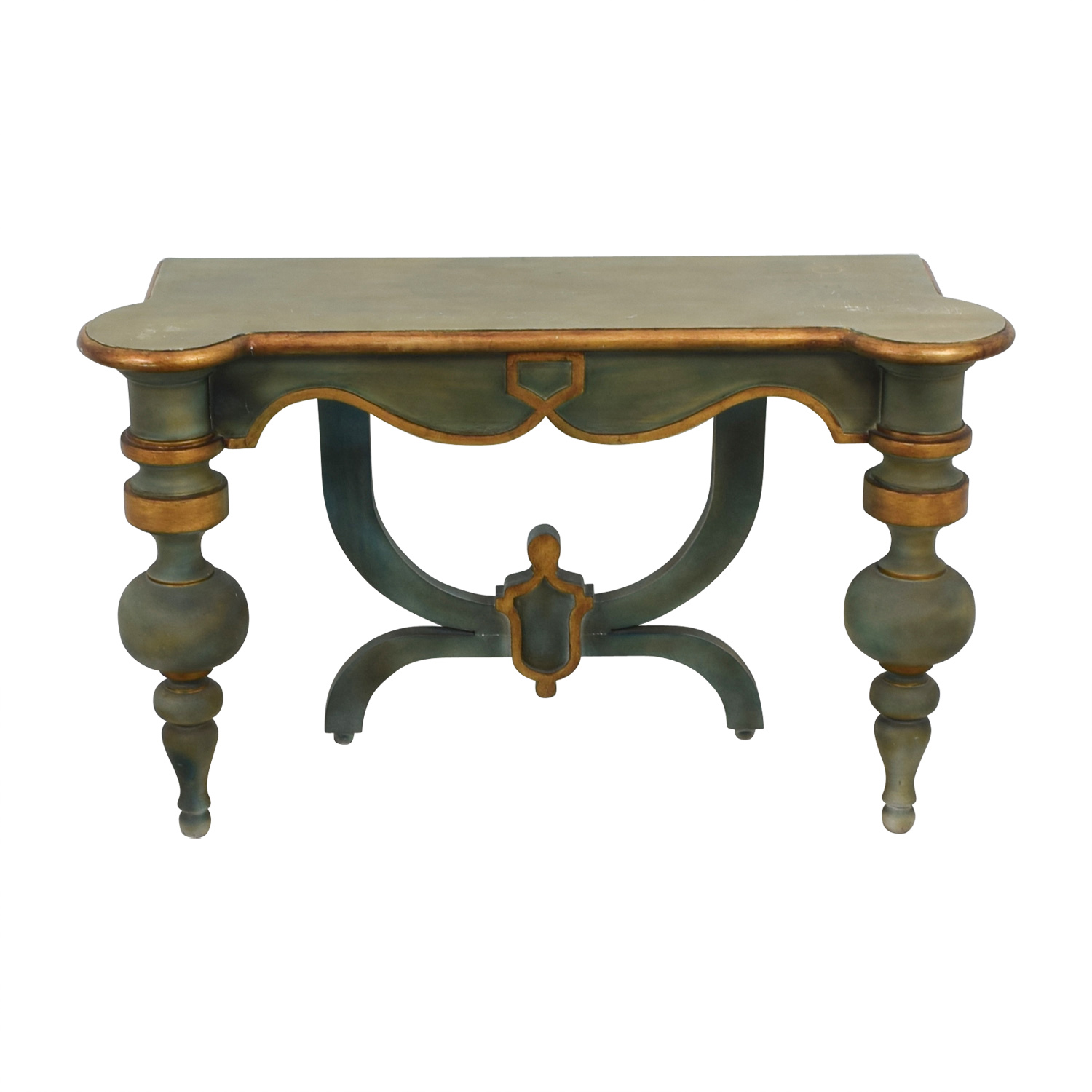 Antique Green Carved Wood Foyer or Entry Table Console / Accent Tables