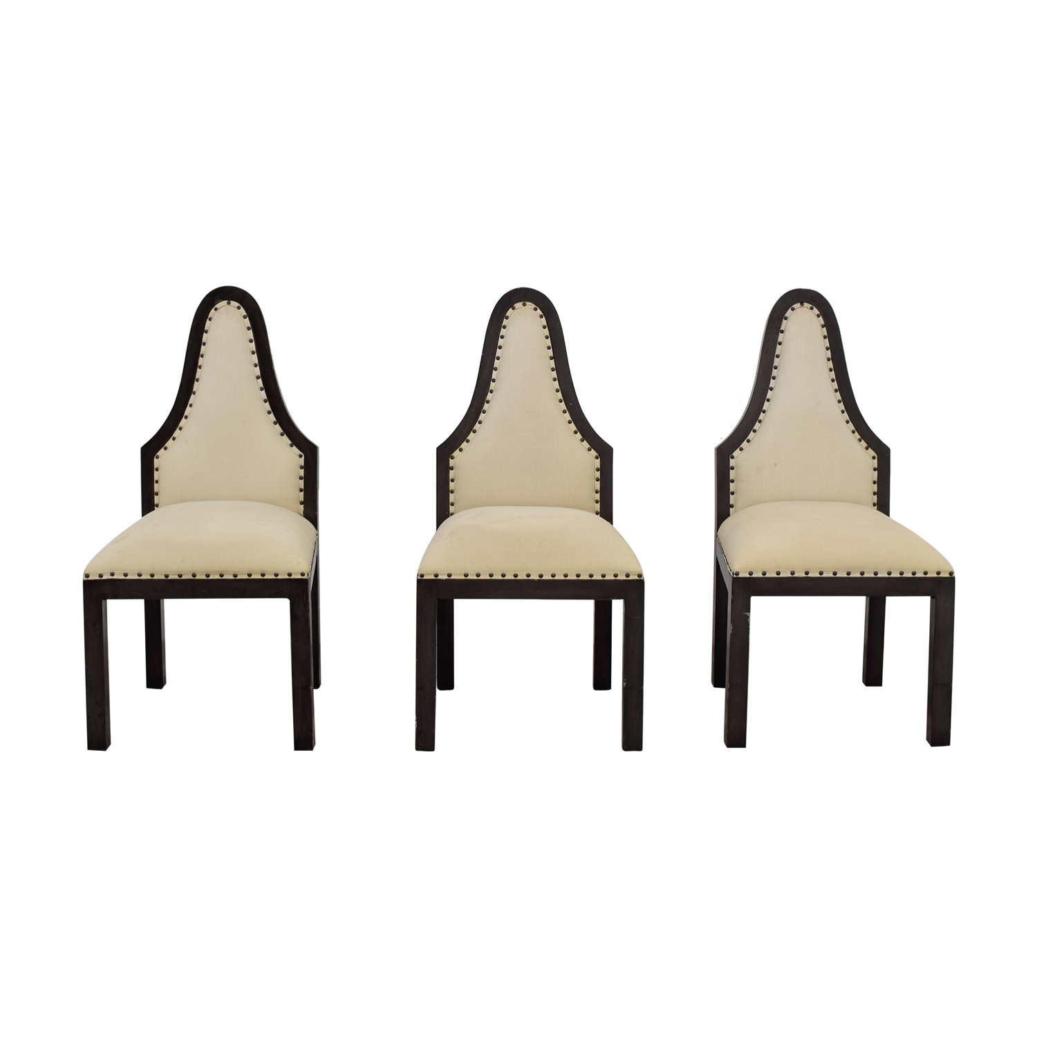 shop Beige Upholstered Nailhead Dining Chairs  Chairs
