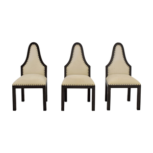 Beige Upholstered Nailhead Dining Chairs second hand