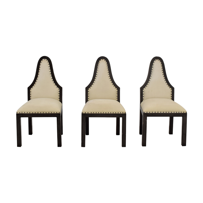 Beige Upholstered Nailhead Dining Chairs / Chairs