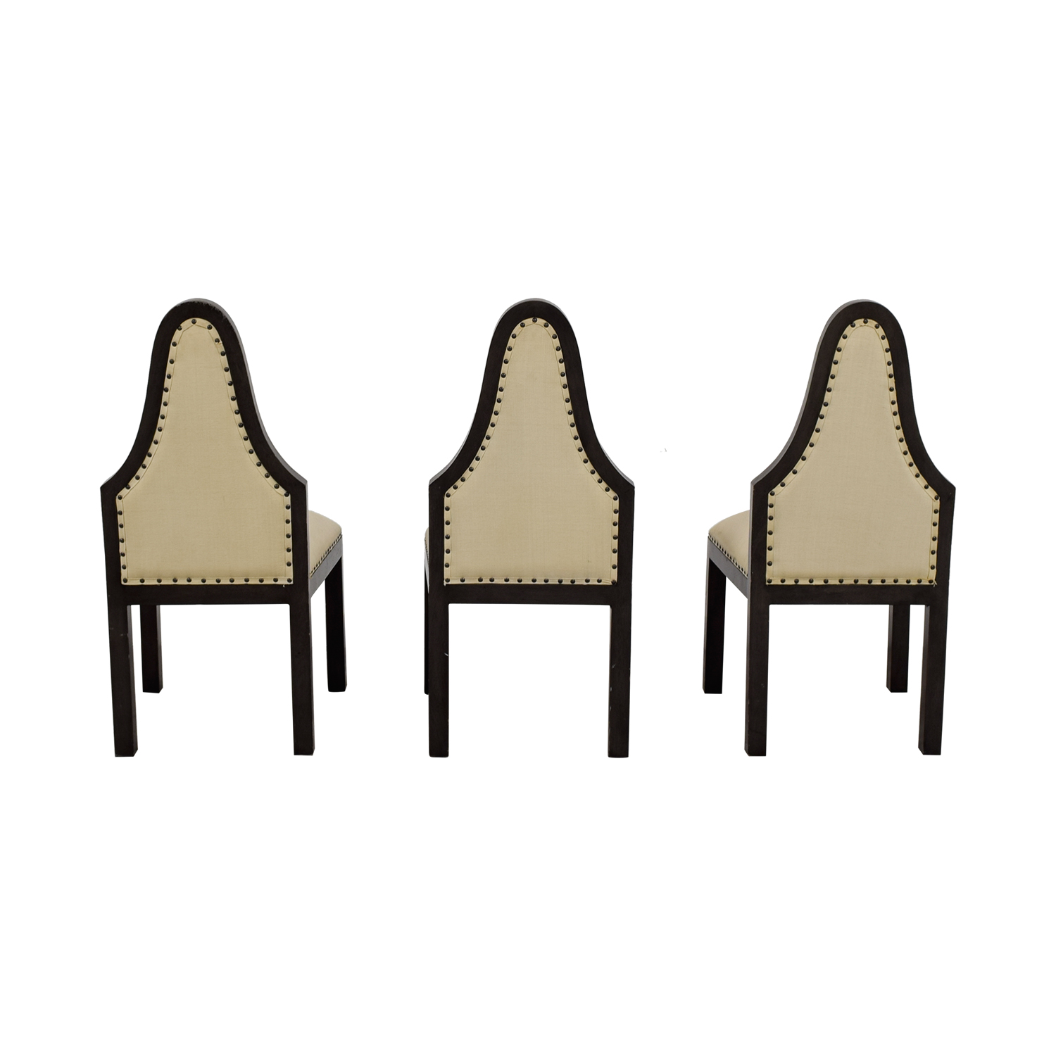 Beige Upholstered Nailhead Dining Chairs on sale