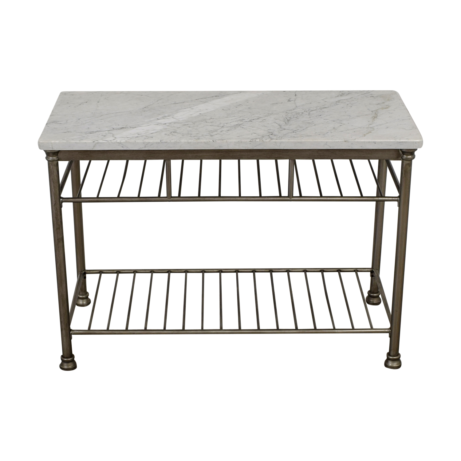 Marble Top and Brushed Stainless Steel Kitchen Island / Utility Tables