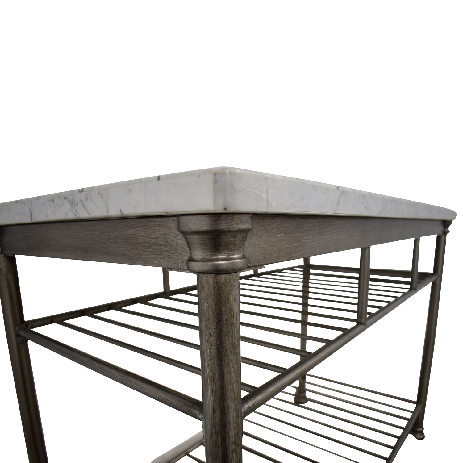 Marble Top and Brushed Stainless Steel Kitchen Island / Tables