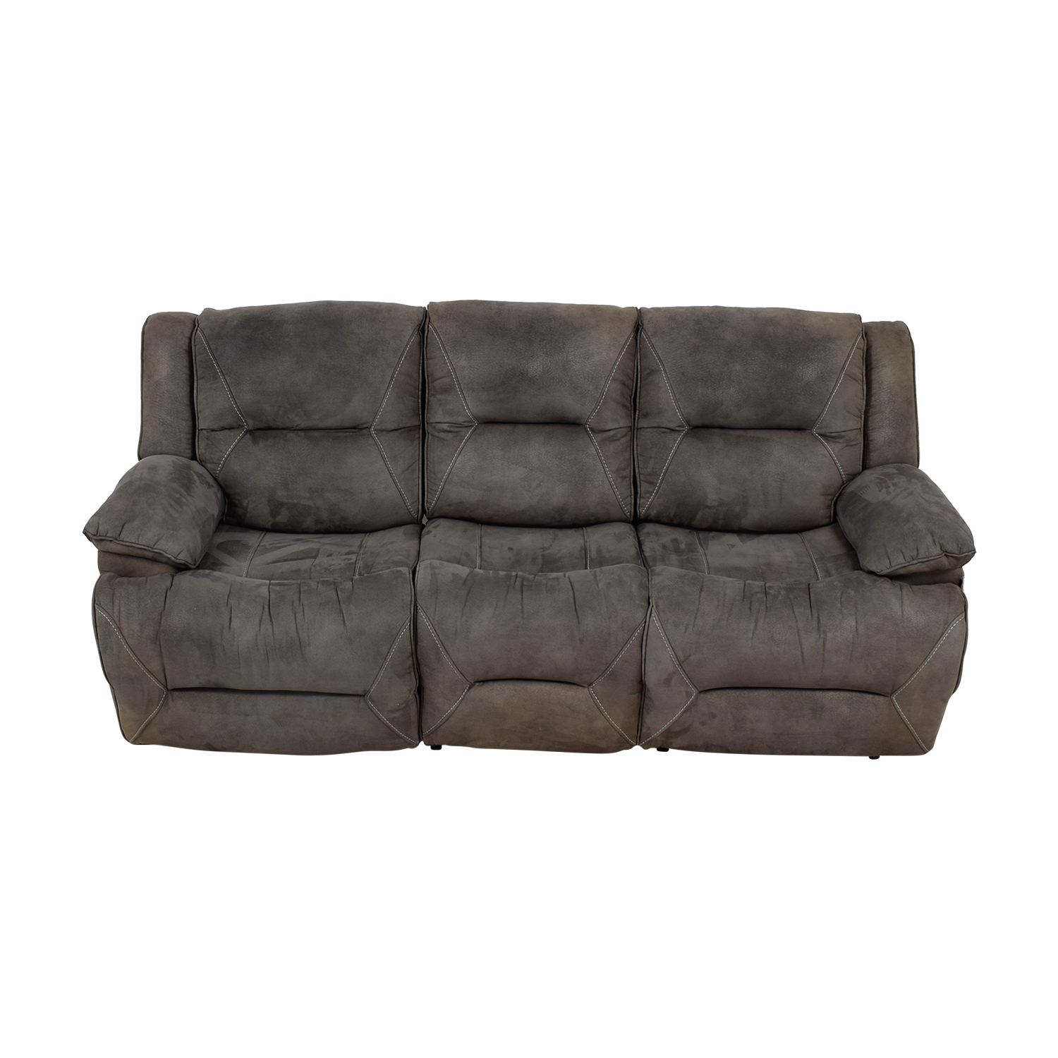 Raymour & Flanigan Raymour & Flanigan Grey Reclining Sofa on sale