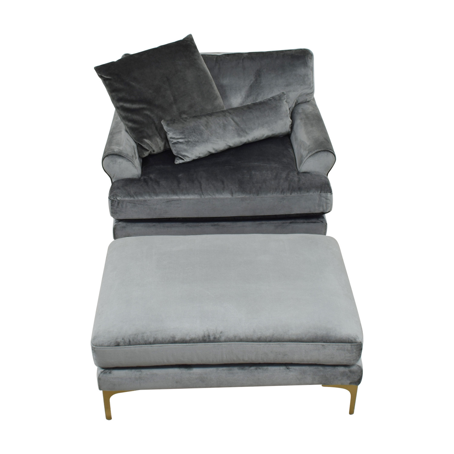 Maxwell Grey Accent Chair & OIttoman / Accent Chairs