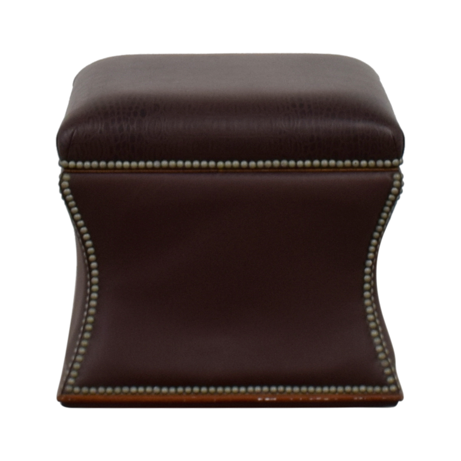 Ralph Lauren Ralph Lauren Nailhead Faux Crocodile Embossed Leather Storage Ottoman discount