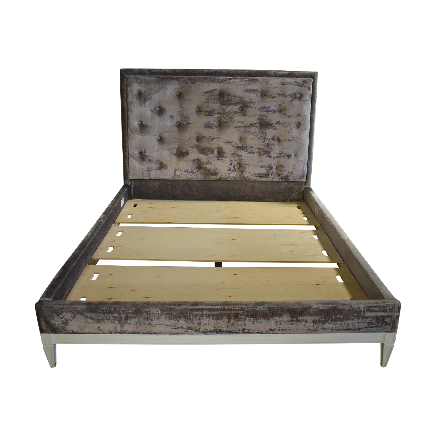 Jonathan Adler Jonathan Adler Lampert Tufted Grey Velvet Queen Bed Frame