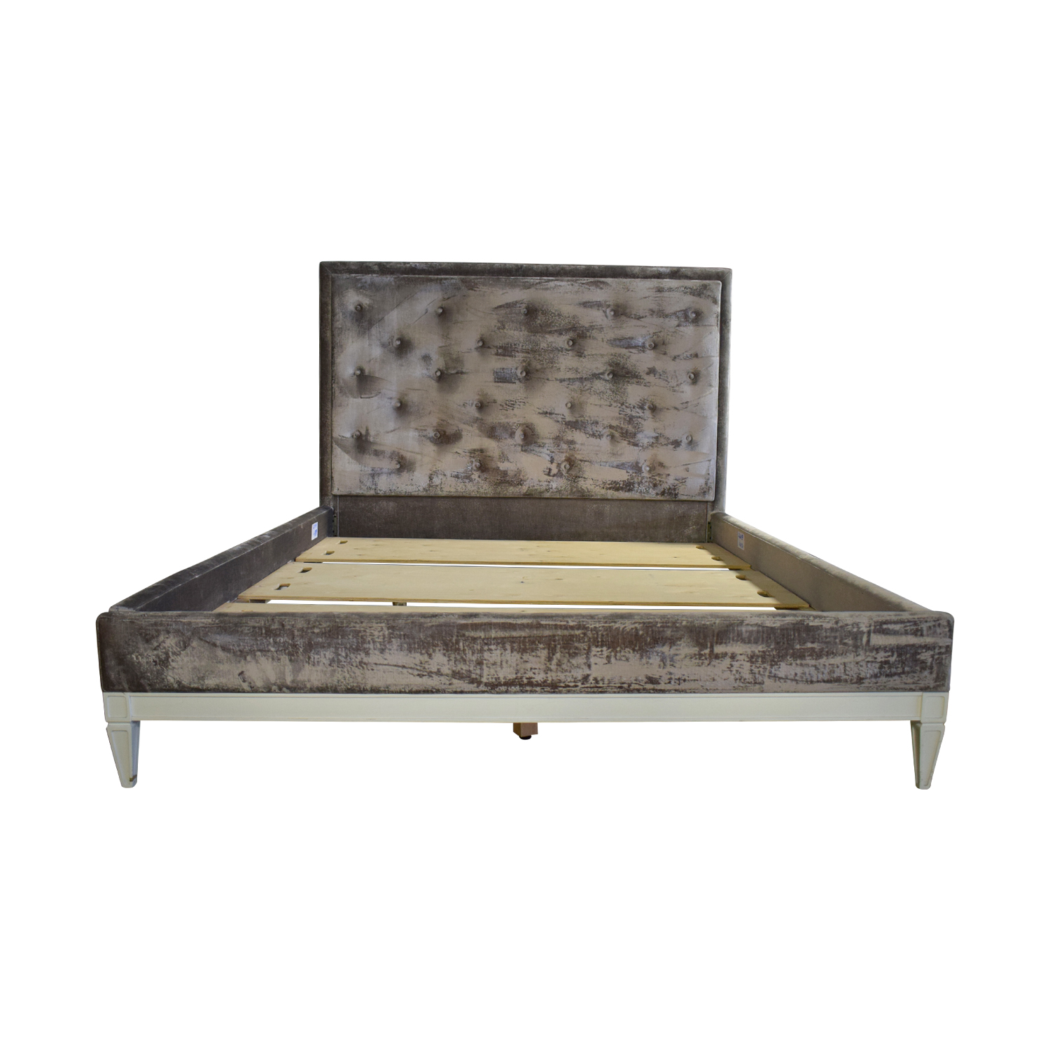 shop Jonathan Adler Lampert Tufted Grey Velvet Queen Bed Frame Jonathan Adler