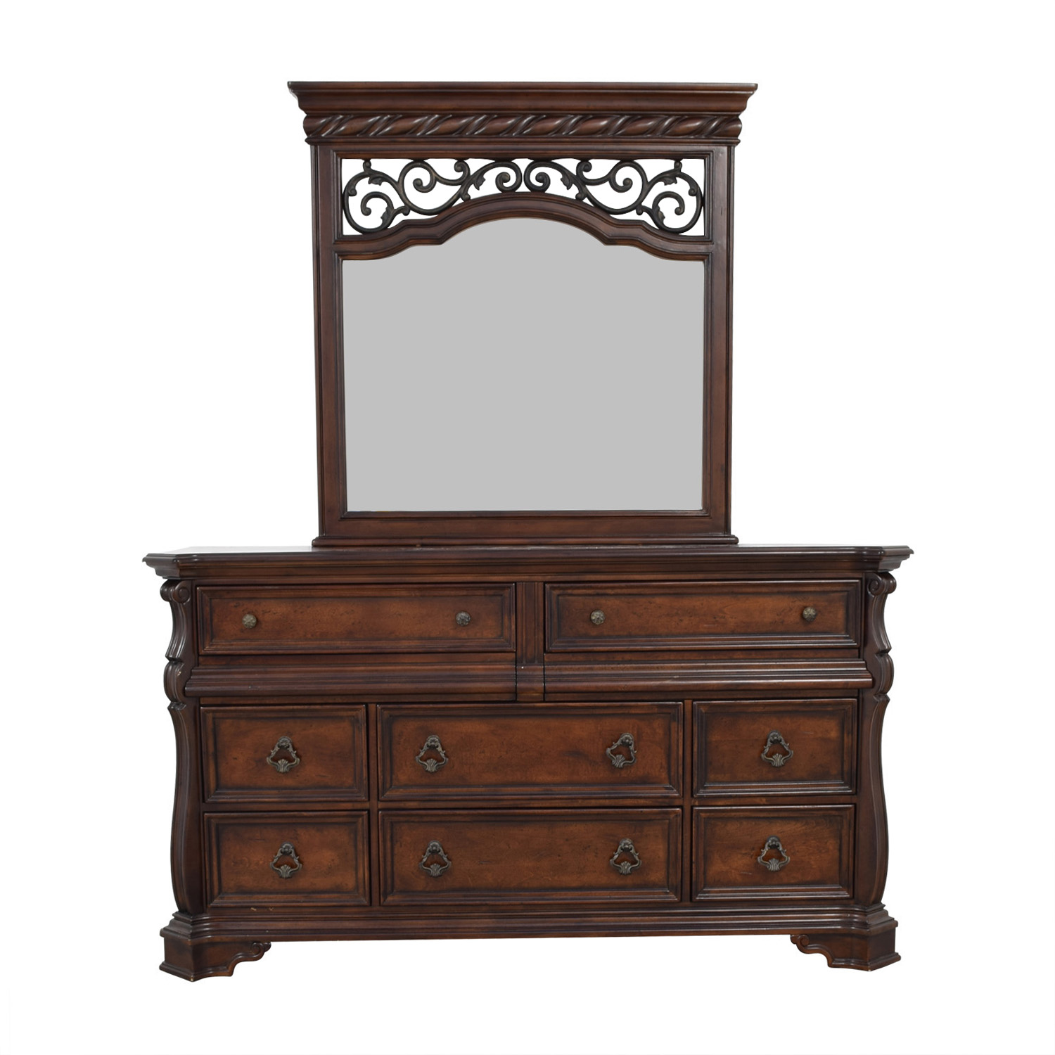 Liberty Furniture Liberty Furniture Eight Drawer Dresser with Scrolled Mirror