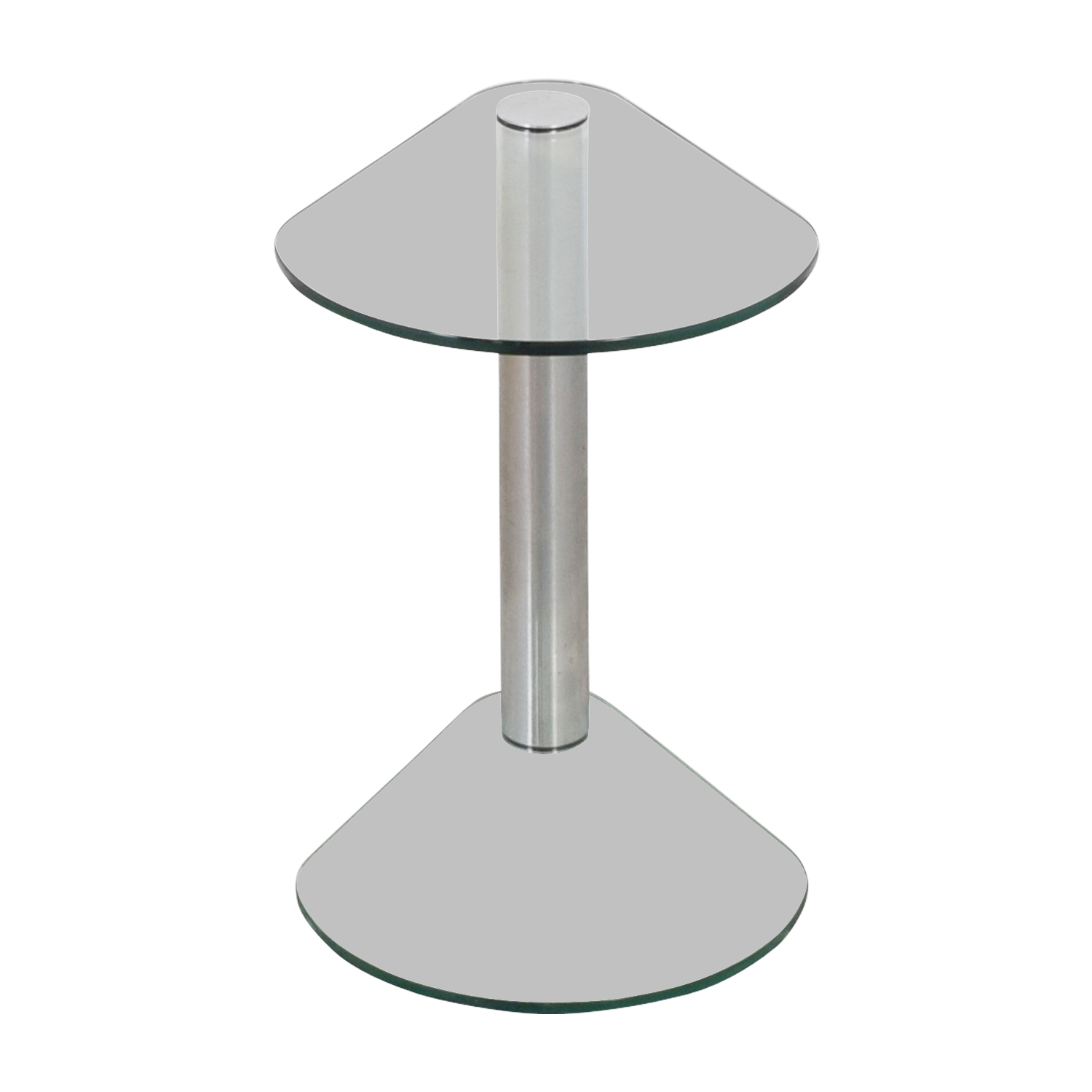 Rounded Edges Triangular Glass and Chrome Side Table discount