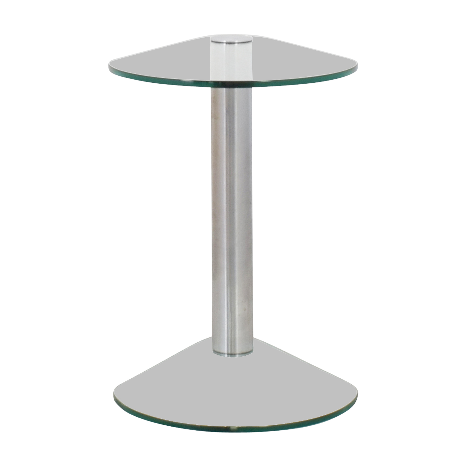 shop Rounded Edges Triangular Glass and Chrome Side Table