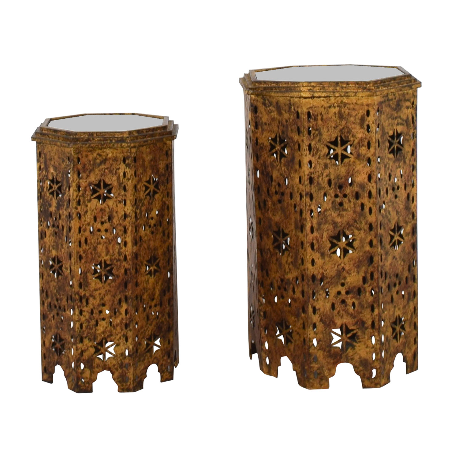 shop Gold Metal Cutout Mirrored Side Tables