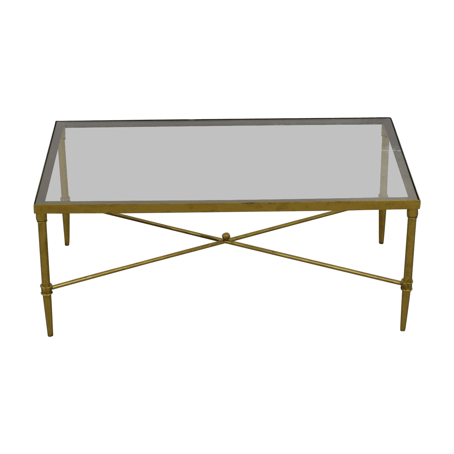 Fadden Fadden Rectangular Glass and Gold Coffee Table used