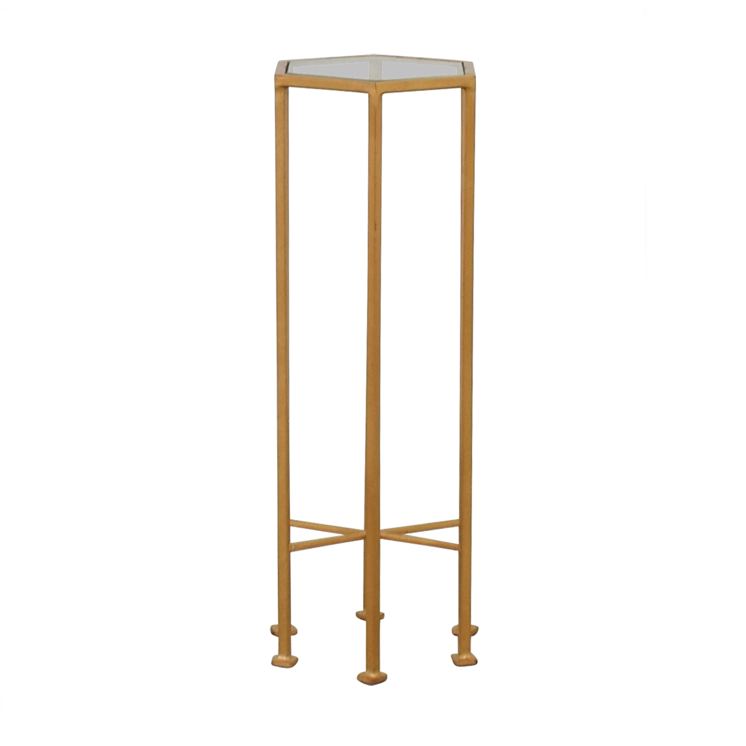 Worlds Away Worlds Away Alan Gold Metal and Glass Side Table End Tables