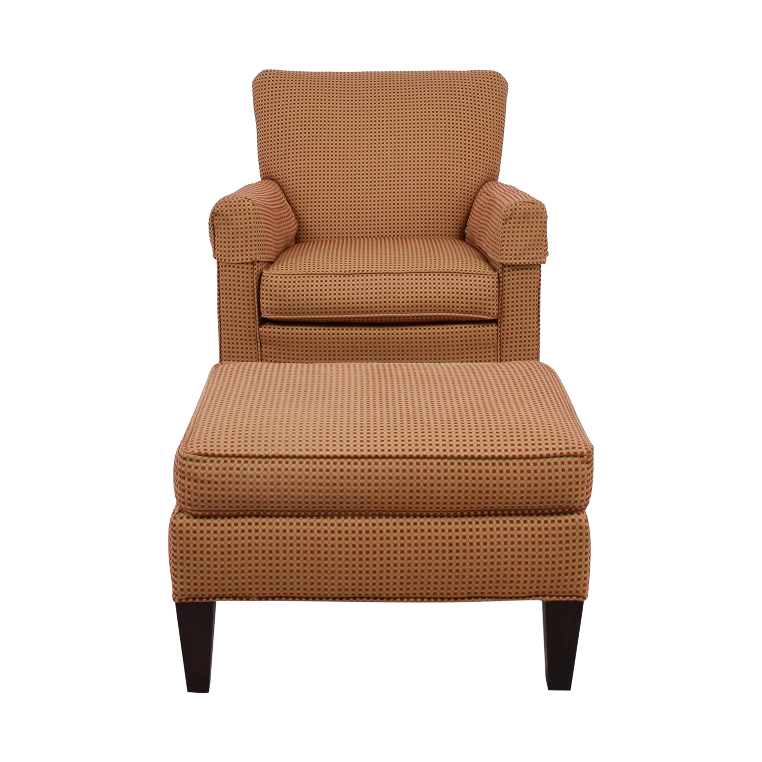 Ethan Allen Ethan Allen Beige and Red Arm Chair with Ottoman coupon