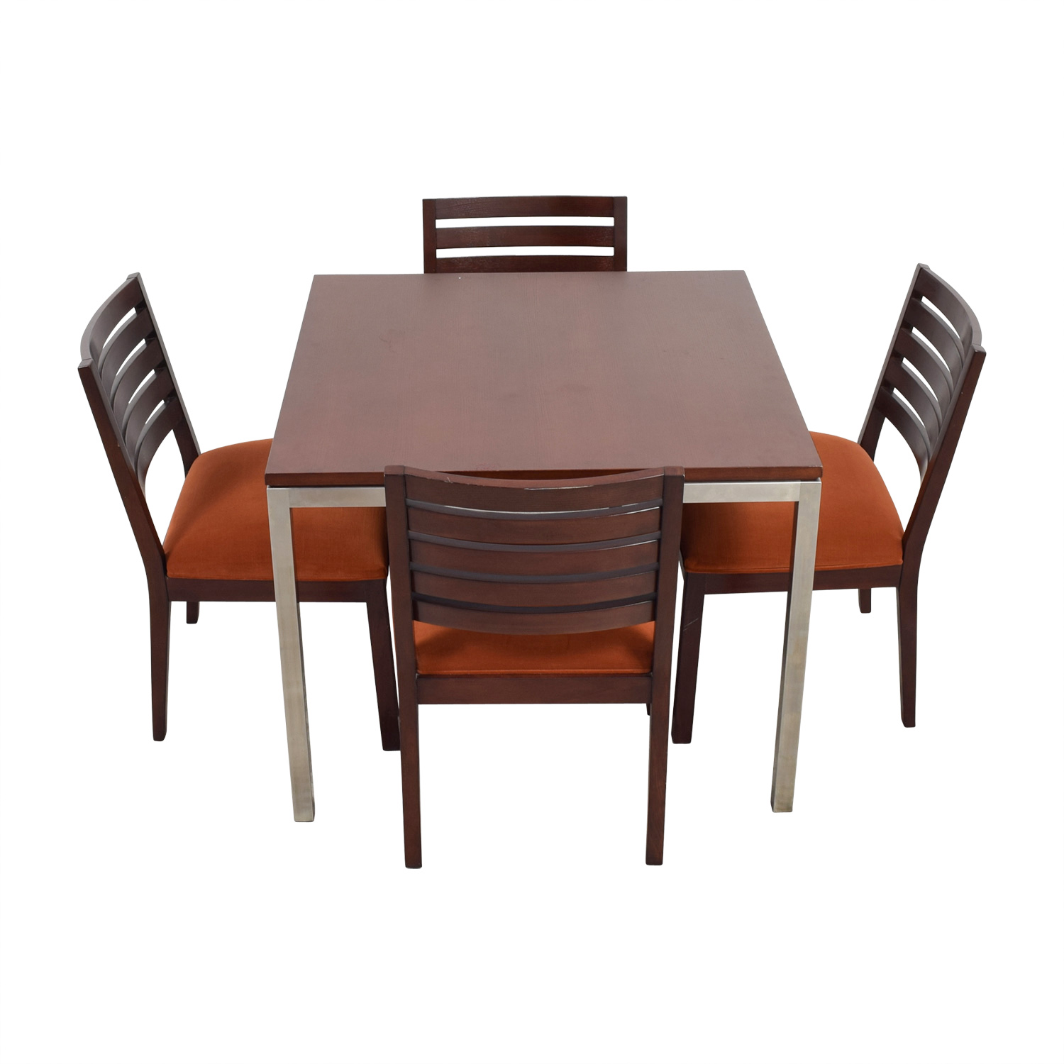 shop Ethan Allen Wood and Chrome Dining Set Ethan Allen Dining Sets