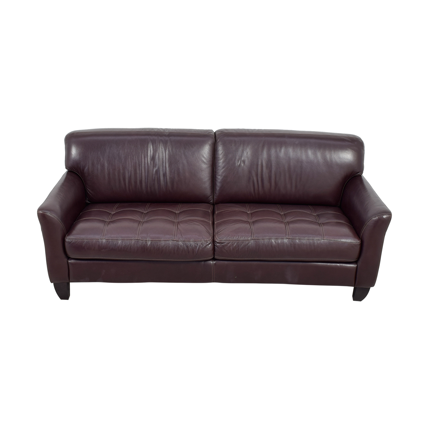 Macy's Signature Macy's Signature Brown Leather Tufted Sofa on sale
