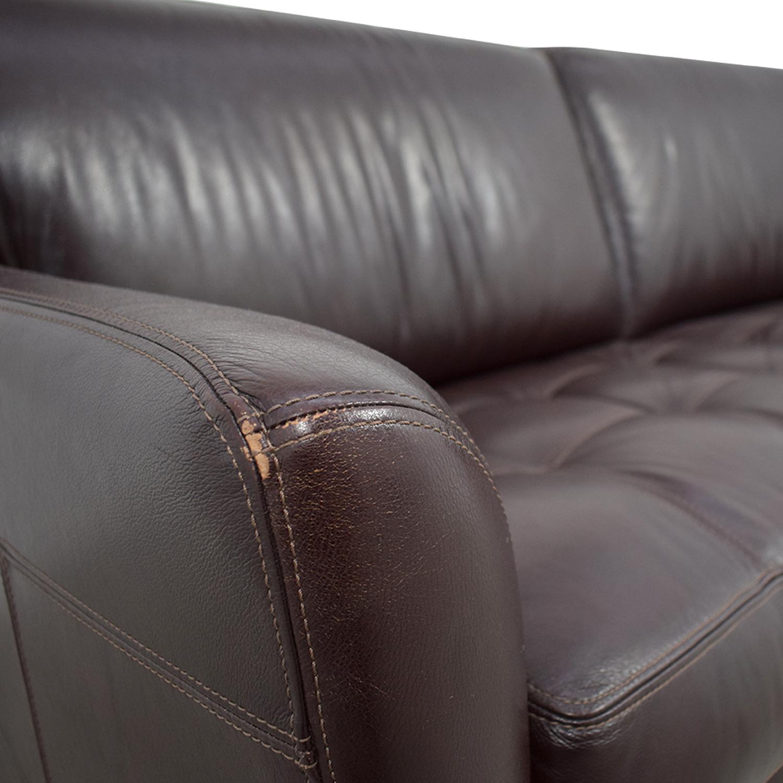 Macy's Signature Macy's Signature Brown Leather Tufted Sofa used