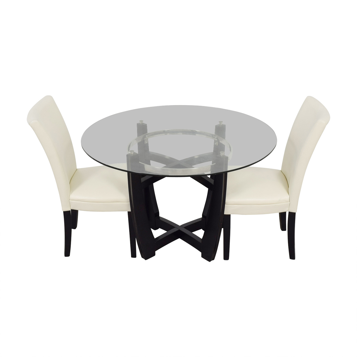buy Bob's Furniture Bob Furniture Round Glass Table and White Chairs online