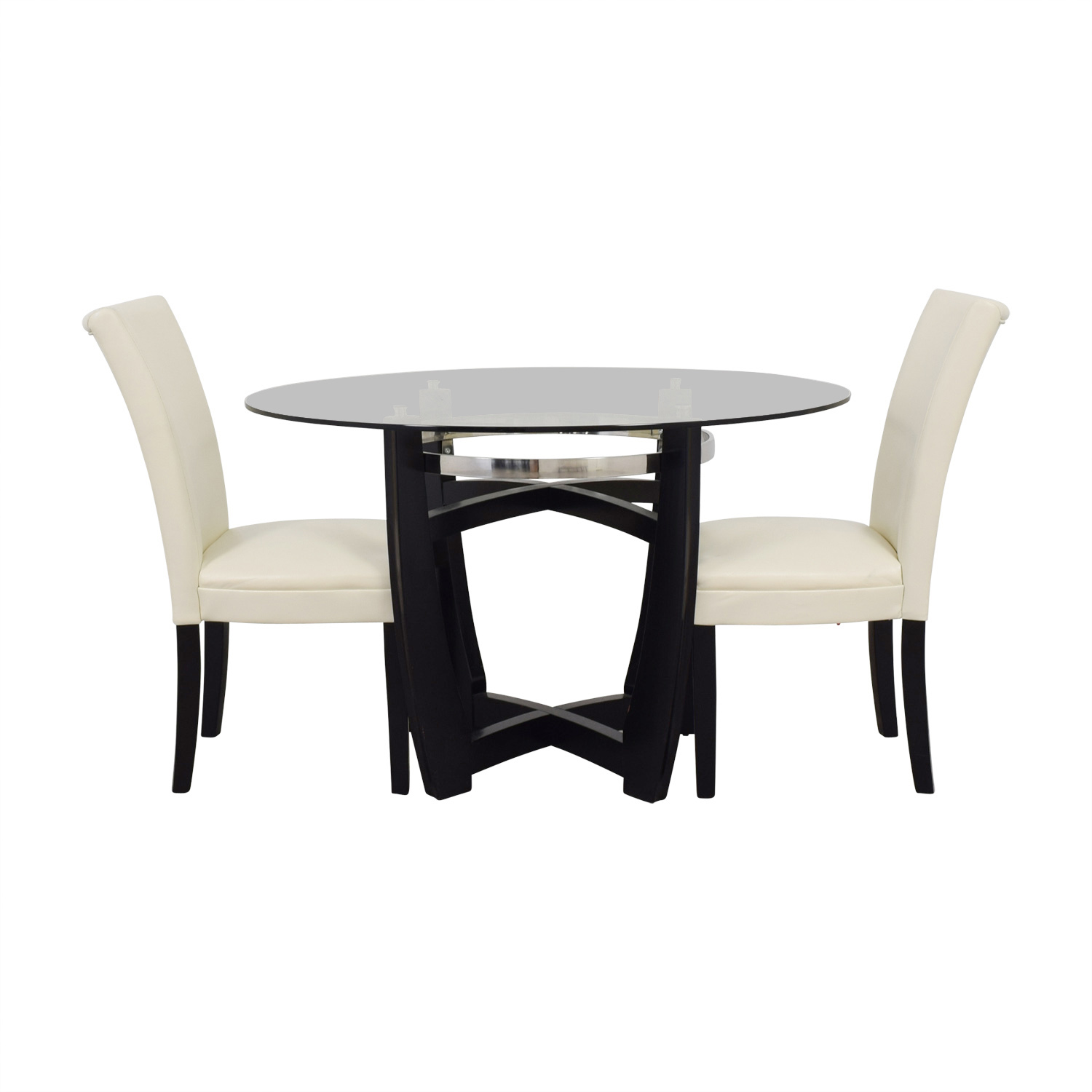 shop Bob Furniture Round Glass Table and White Chairs Bob's Furniture Dining Sets