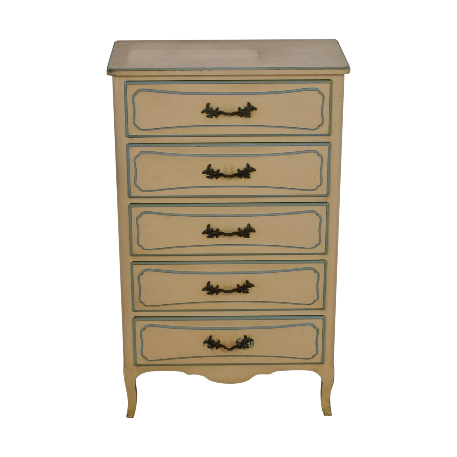 Custom Handmade Tall Five Drawer Dresser Green, White