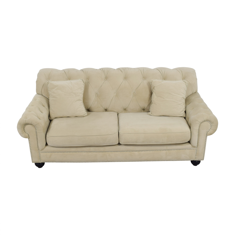 shop Bob's Furniture Cream Tufted Two-Cushion Couch Bob's Furniture