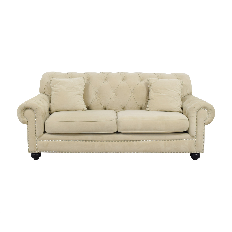 Bob's Furniture Cream Tufted Two-Cushion Couch Bob's Furniture